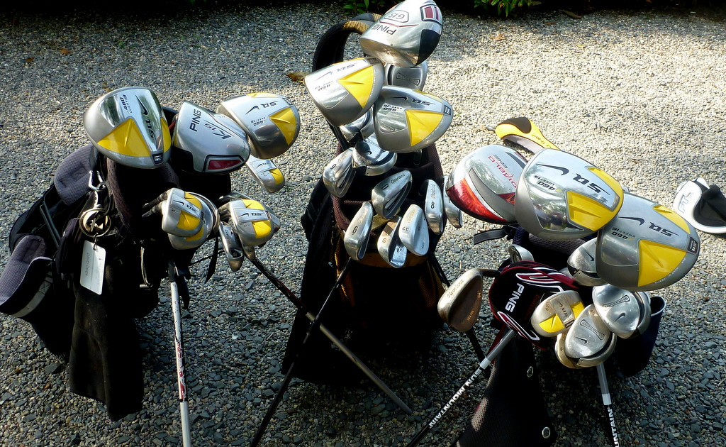 During the first, stroke-play round of the men's member-guest last year, Tony, Tony's son Tim, and I carried nine drivers between us. That's my bag on the left, Tony's on the right.