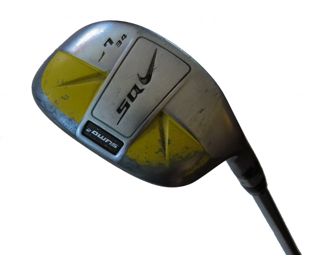 This is the magic golf club. Nike not only doesn't make it now, but also, according to Nike, never made it the past. (Tony Dabbs told me the company had never made a 34-degree hybrid.) Tony and I know better.