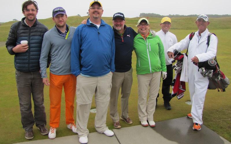 The Miles party: Chris, Rush, Tim, Steve, Carolyn, Paul, Gerard. Bandon Dunes, June, 2013.