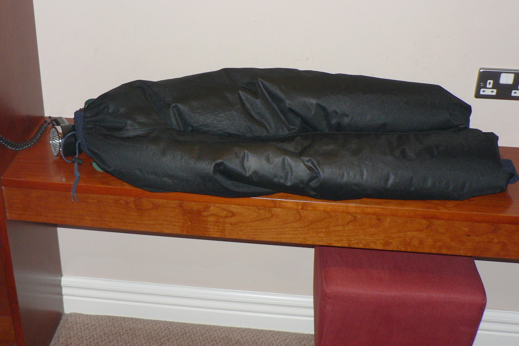 Before using the hairdryer, I tried drying my rain pants in my room's heated trouser press, but that didn't work.