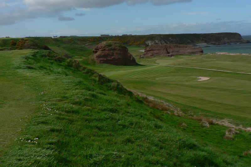 Looking down from the top of the cliff, Cullen Golf Club.