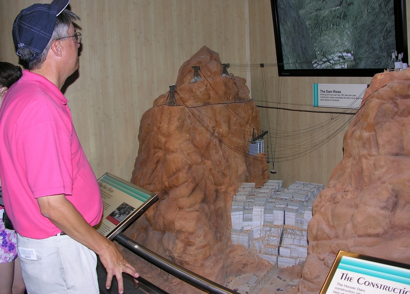 Me, standing in awe before one of the many fascinating dioramas in the visitors' center at the Hoover Dam, June, 2006.