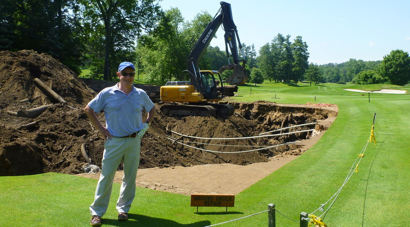 Bob G., ground under repair, Glen Arbor Golf Club, Bedford Hills, New York, June, 2013.