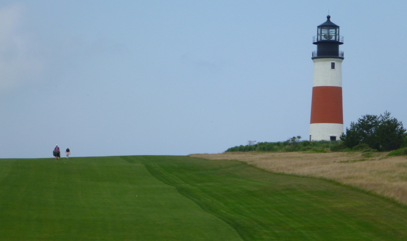 Sankaty Head lighthouse, which recently had to be moved farther from the cruel, cruel sea, and the somewhat less cruel fifth fairway.