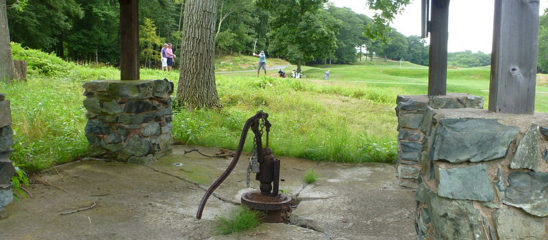 Art-type shot of Shep, Josh, and Tony on the eighteenth tee at Yale, plus a padlocked water pump, July 23, 2013.