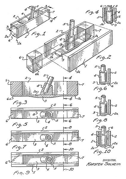 Patent drawing for Karsten Solheim's original heel-and-toe-weighted putter,