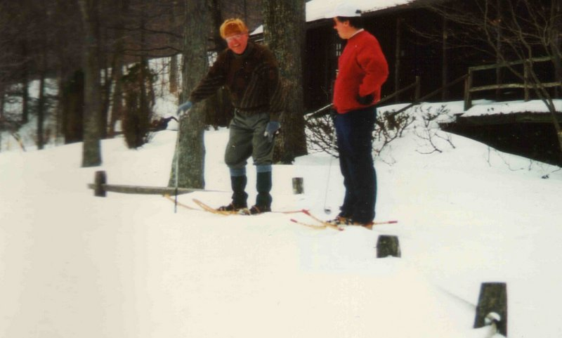 George and I, in snowshoes, with 7-irons.