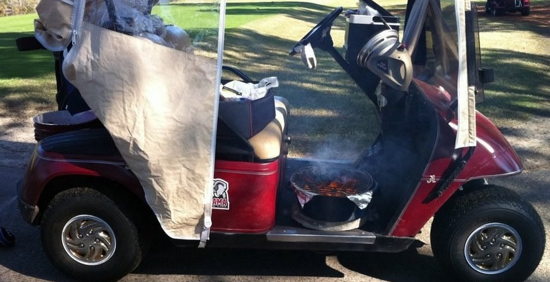Jim's cart. Note grill, cooler, heater, and enclosure. The concrete disk under the grill is a safety measure.