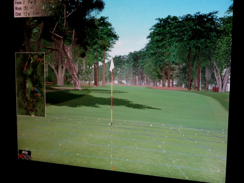 The little marble things on the green move, to show you slope and speed.