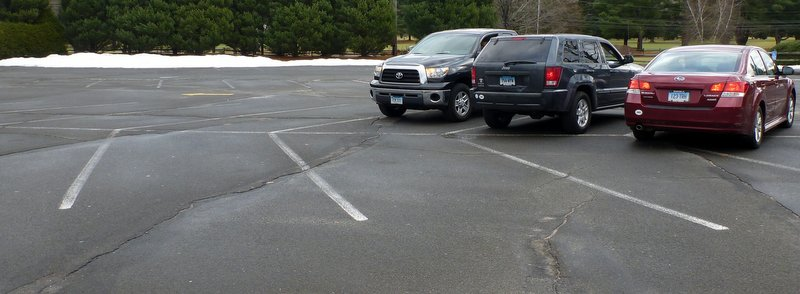 These cars belong to my friends and me. There were no other cars in the parking lot at Tunxis when we got there on Sunday morning.