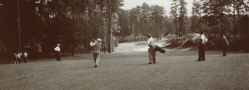 Early members playing the tenth hole.