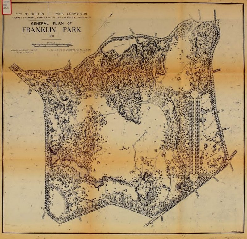 Frederick Law Olmsted's 1891 plan for Franklin Park, five years before the creation of the golf course.