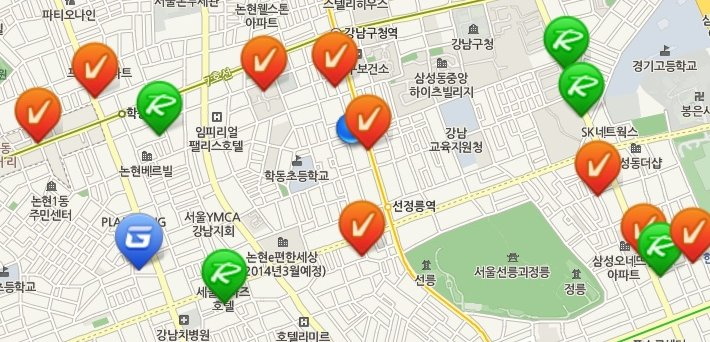 Golfzon simulator locations near Cory Olson's office, in Seoul's Gangnam District.