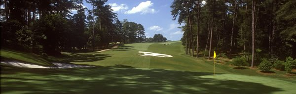 Tenth hole, Augusta National. Looking back up the hill, toward the tee.