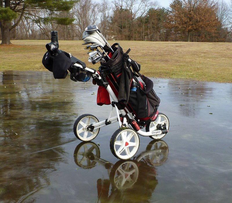 My pushcart at D. Fairchild Wheeler Golf Course, New Year's Eve, 2013.