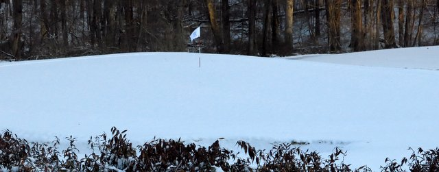 This is what the ninth green looked like on the morning of April 16. Unfair!