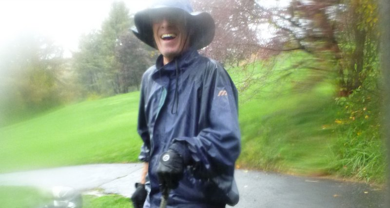 Barney and his raingear, on the day we played anyway. October 6, 2013.