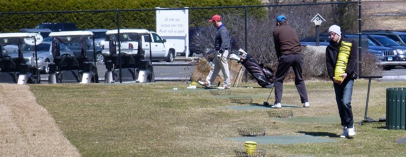The driving range at Tunxis. You should never watch strangers hit practice balls, especially when there are still little piles of snow on the ground.