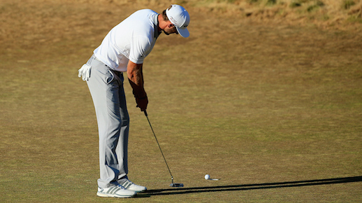 UNIVERSITY PLACE, WA - JUNE 21:  Dustin Johnson of the United States watches his missed birdie putt on the 18th green during the final round of the 115th U.S. Open Championship at Chambers Bay on June 21, 2015 in University Place, Washington.  (Photo by David Cannon/Getty Images)