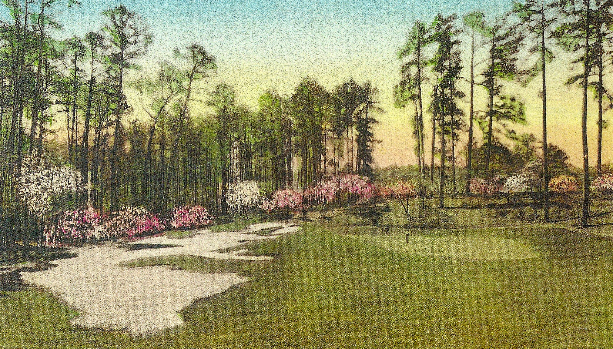 This is an early Augusta National postcard, showing the tenth green in its original location, before it was moved back and to the left. Roberts's preferred site for his golf hall of game was out of the frame to the left.
