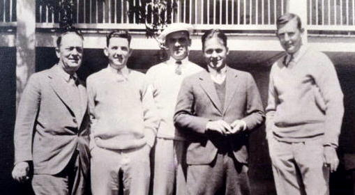 Robert P. Jones (Bobby's father), Jerry Franklin (an important early member), Clifford Roberts, Bobby Jones, and Ed Dudley, the club's first pro, 1931. (Augusta National/Getty Images)