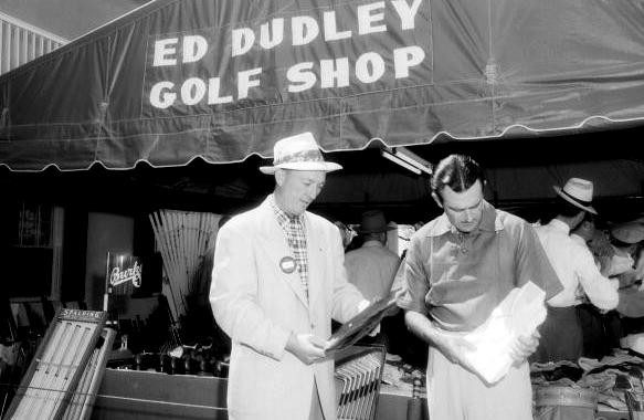 "Augusta National/Getty Images Dudley's ""golf shop"" at the 1940 Masters. That's Lloyd Mangrum on the right."