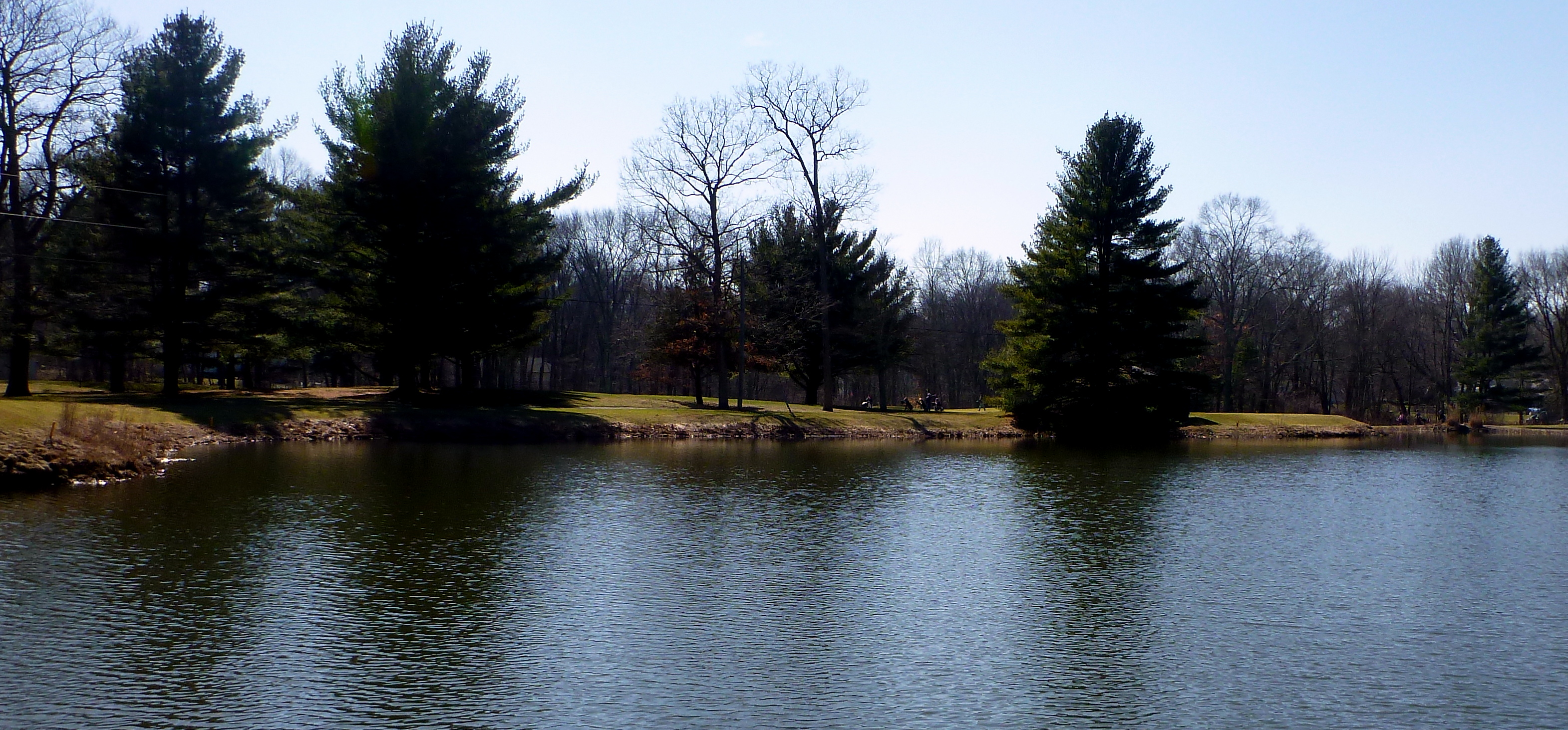 Ice-free pond at Woodbridge Country Club, Woodbridge, Connecticut.
