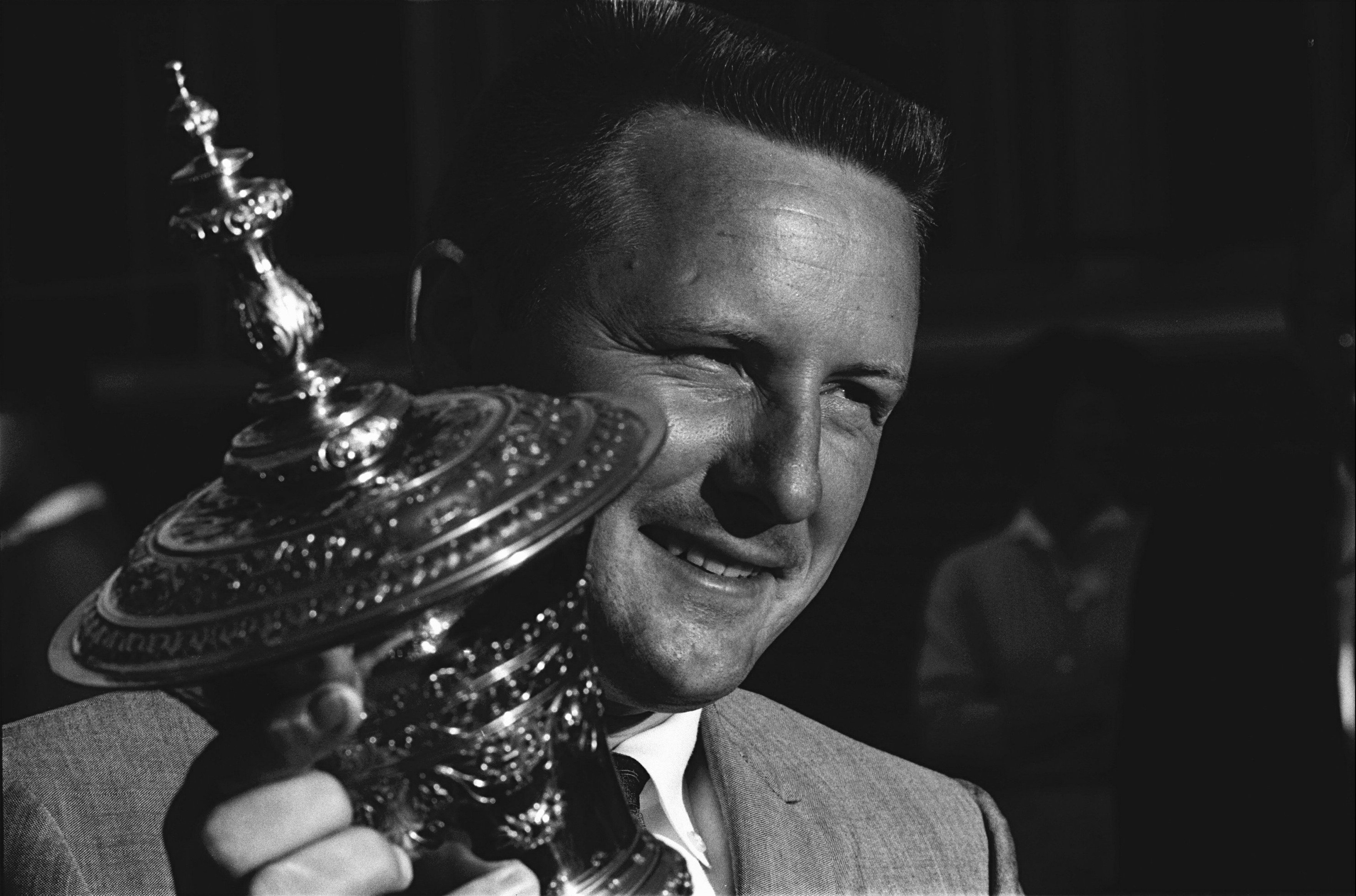 UNITED STATES - SEPTEMBER 13: Golf: US Amateur Open, Closeup of Deane Beman victorious with trophy at Wakonda Club, Des Moines, IA 9/13/1963 (Photo by Lee Balterman/Sports Illustrated/Getty Images) (SetNumber: X17644)