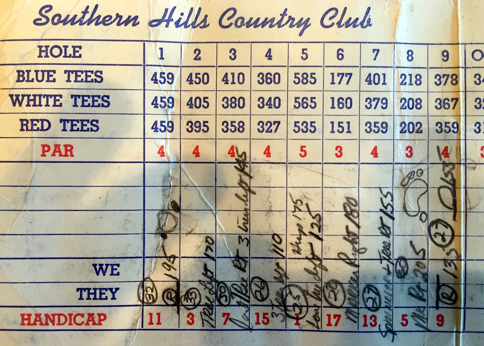 Beman's front-nine notes from the 1958 U. S. Open, at Southern Hills. The circled numbers are green depths.