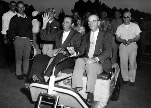 Doug Ford and Clifford Roberts, 1957 Masters. (Photo by Augusta National/Getty Images)
