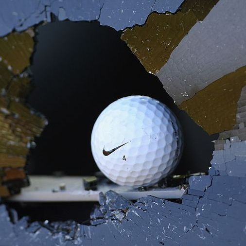 AMSTERDAM, NETHERLANDS - AUGUST 25: A can on the course has its window smashed by a golf ball during the third round of The KLM Open at Kennemer Golf & Country Club on August 25, 2007 in Zandvoort, Netherlands. (Photo by Stuart Franklin/Getty Images)