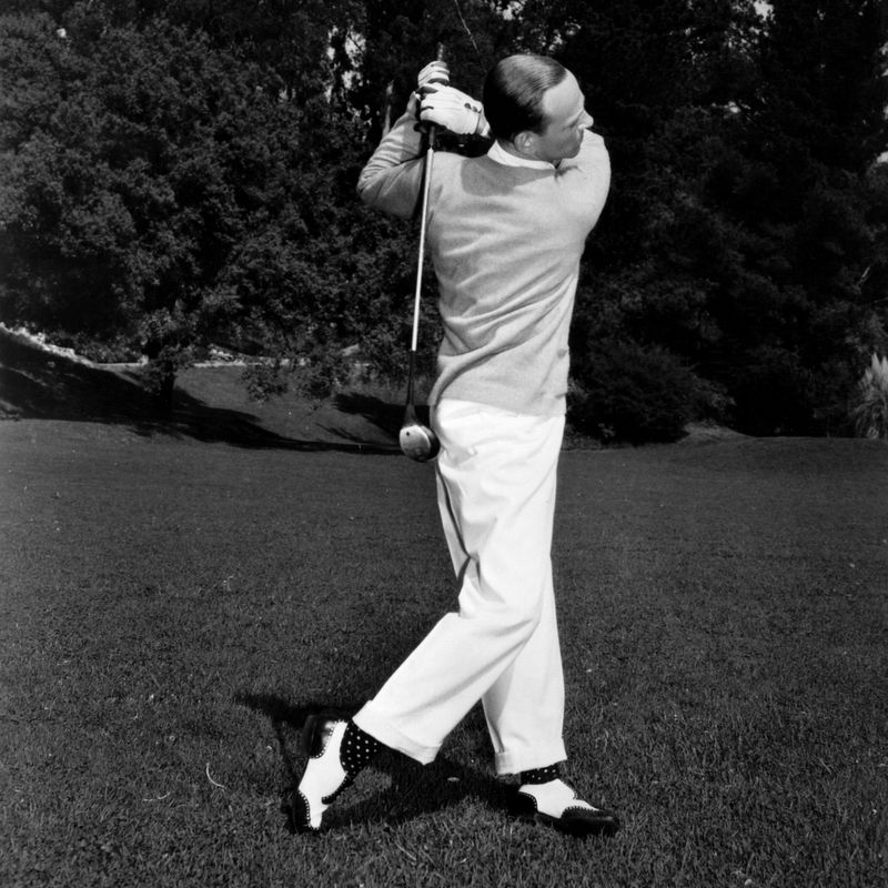circa 1938: Fred Astaire (1899 - 1987), the American singer and dancer on the golf course. (Photo by John Miehle/Hulton Archive/Getty Images)